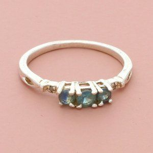 sterling silver blue topaz sapphire & diamond ring
